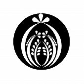 Black and white floral abstract ornament, vector