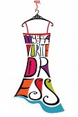 Silhouette Of Woman Dress From Words.typography Dress Design