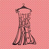 Silhouette Of Woman Dress From Words.polka Dot Background