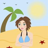 Beautiful woman in a bathing suit on the beach vector illustration