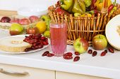 Vegetarian Cuisine: Cornelian Cherry Compote And Lot Of Fruit