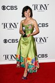 NEW YORK-JUNE 8: Costume designer Linda Cho poses in the press room at the American Theatre Wing's 6