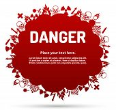 Danger Sign Set In Cloud Banner