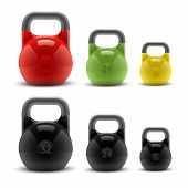 Collection Of Realistic Classic Kettlebells Isolated On White Background. Fitness Symbol. Vector Ill
