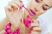 Manicure Process - Beautiful Girl Makes Pink Manicure