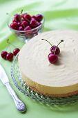 Milk Souffle And White Chocolate Cake With Fresh Cherry