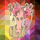 Vector beautiful fashionable hipster girl moose