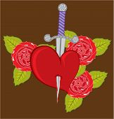 picture of broken heart flower  - heart knife roses eps vector illustration clip - JPG