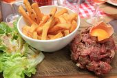 picture of boeuf  - tartare de boeuf with egg and fries - JPG