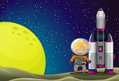 Illustration of an astronaut standing beside the rocket near the moon