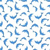 Seamless pattern with dolphins. Vector illustration.
