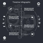 Timeline Infographics Elements Symbols and Icons Vintage Retro Style Design Template on Stylish Abst