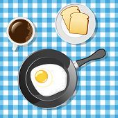 Fried egg with toasts and coffee