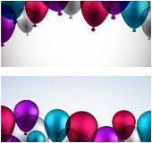 Celebration banners with colorful balloons. Vector illustration.