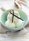 homemade creamy vanilla ice cream with natural vanilla sticks