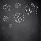 Christmas snowflake blackboard chalkboard raster