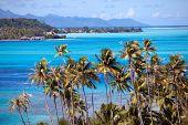 Azure lagoon of island BoraBora Polynesia.