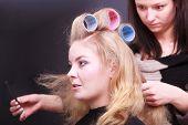 Beautiful Blond Girl Hair Curlers Rollers Hairdresser Beauty Salon