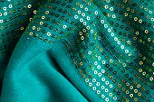 Green Sequine Background Texture Abstract Cloth Wavy Folds Textile