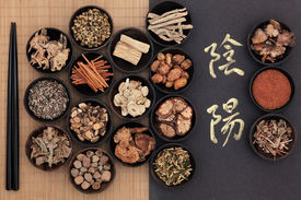 stock photo of chinese calligraphy  - Chinese herbal medicine with yin and yang calligraphy script over bamboo - JPG