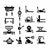 stock photo of elevator icon  - Set icons of lifting equipment isolated on white - JPG