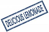 Delicious Lemonade Blue Square Stamp Isolated On White Background