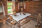 Novgorod, Russia - July 23, 2014: Interior Of Old Rural Wooden House In The Museum Of Wooden Archite