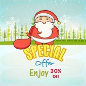 Merry Christmas special offer poster, banner or flyer with kiddish Santa Claus on snowflakes and fir trees decorated nature background.