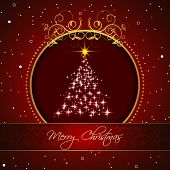 Christmas tree on a red background for your happy holiday
