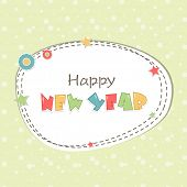 Stylish sticky decorated with colorful text and stars for Happy New Year 2015 celebrations.