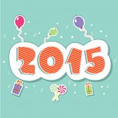 Stylish sticky design with balloons, gift boxes and candy for Happy New Year 2015 celebrations.