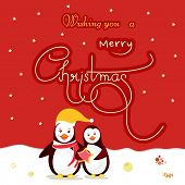 Beautiful greeting card design for Merry Christmas celebrations with cute penguins and stylish text on stars decorated red and white background.