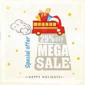 Sale poster, banner or flyer with stylish text for Happy Holidays on stars decorated background.