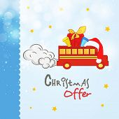 Christmas offer poster or banner with gift boxes and Santa cap on truck.