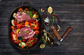 Meat With Vegetables And Olive Oil