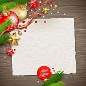 Paper banner for holidays greeting message and Christmas decoration on a wooden background - vector illustration