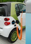 picture of electric socket  - Charging of electric car on service station - JPG