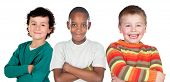 Three funny children isolated on a white background
