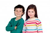 Two beautiful children isolated on a white background