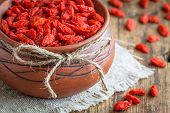 Goji Berries In A Clay Bowl