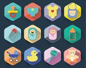 Flat new born baby icons
