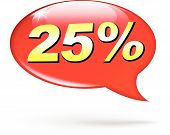 Percentage Red Speech Bubble