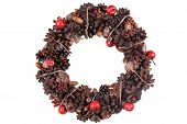 Elegant Christmas Wreath. Isolated Stock Image.