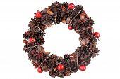 Elegant Christmas Wreath. Isolated Stock Image.