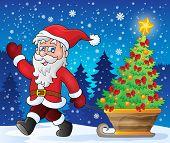 Santa Claus walk theme 2 - eps10 vector illustration.
