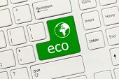 White Conceptual Keyboard - Eco (green Key With World Icon)