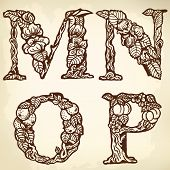 Set of letters MNOP