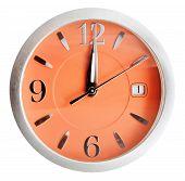 Twelve O'clock On Orange Dial Isolated On White