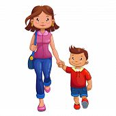Woman is walking with son