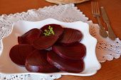 Beetroot salad on the white plate